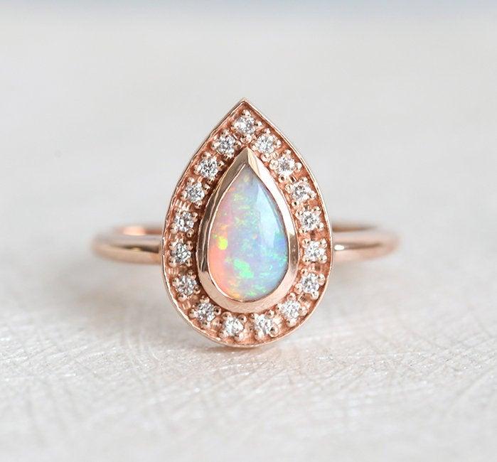 rose gold engagement ring unique