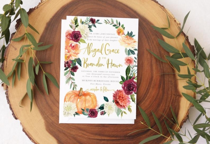 fall wedding invitation etsy