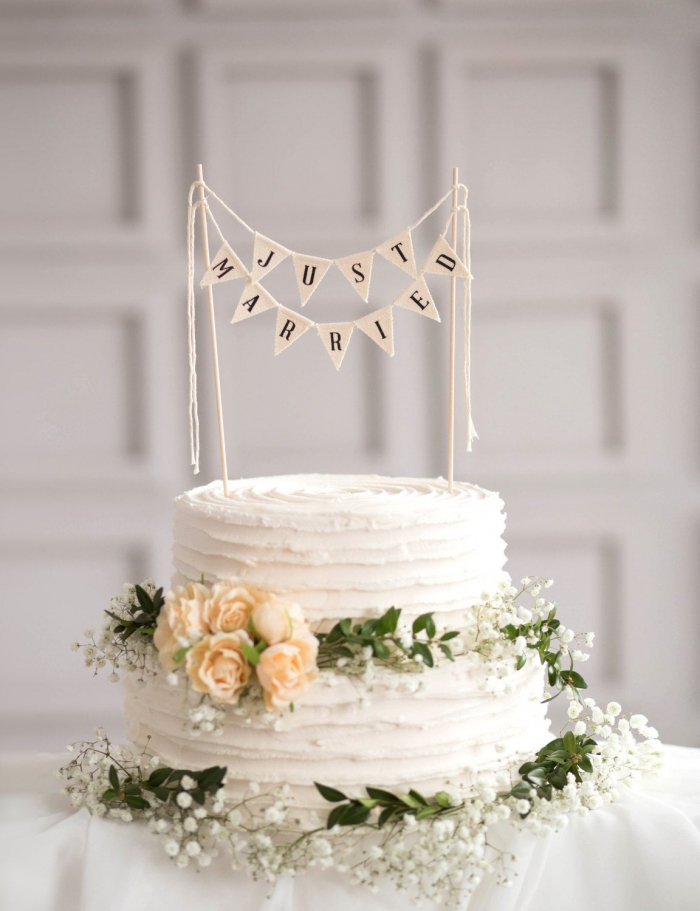 bunting wedding cake topper just married