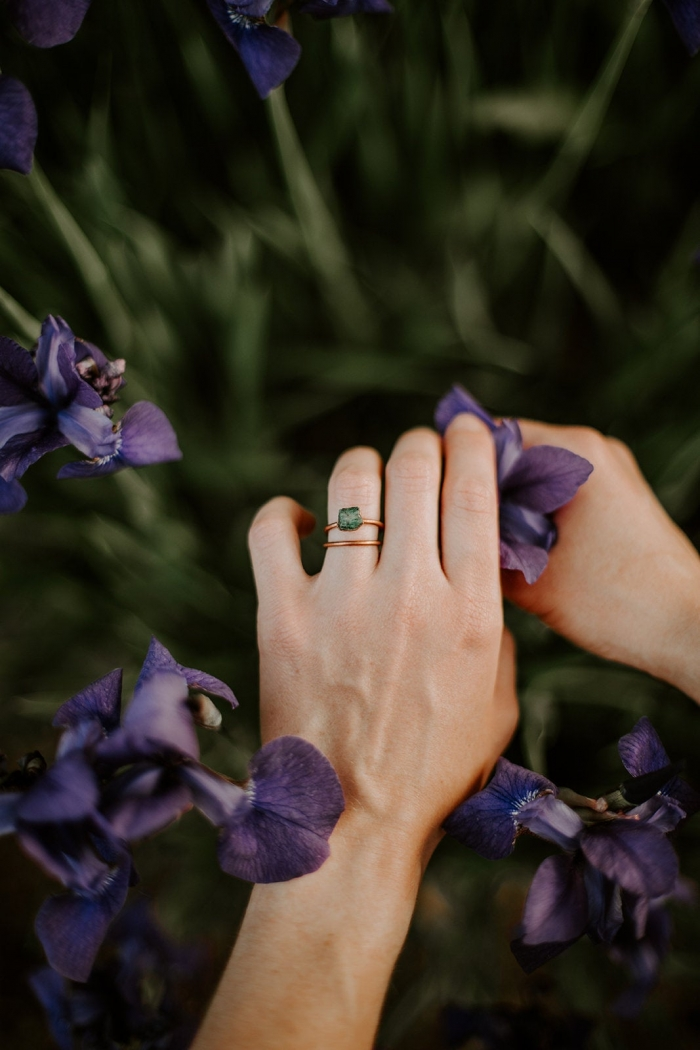 emerald engagement ring copper