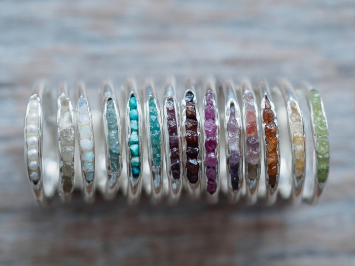 raw gemstone wedding band