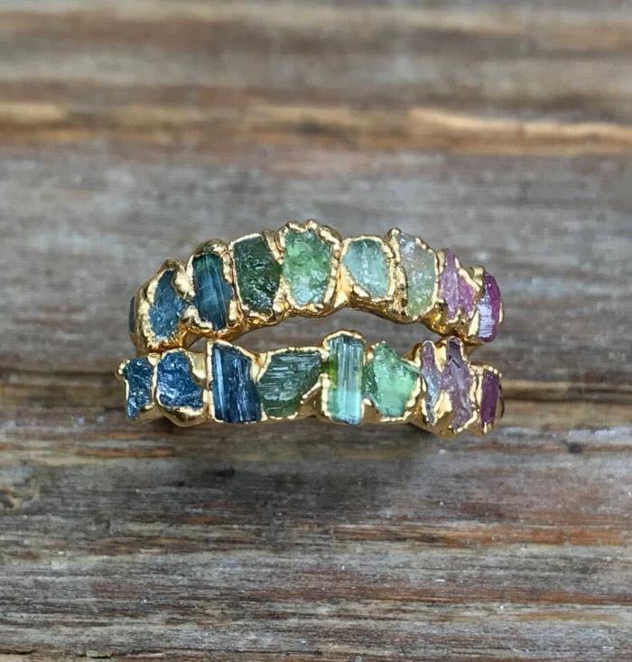 raw gemstone engagement ring