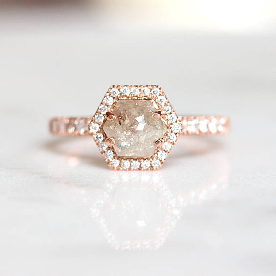rose gold engagement ring grey diamond