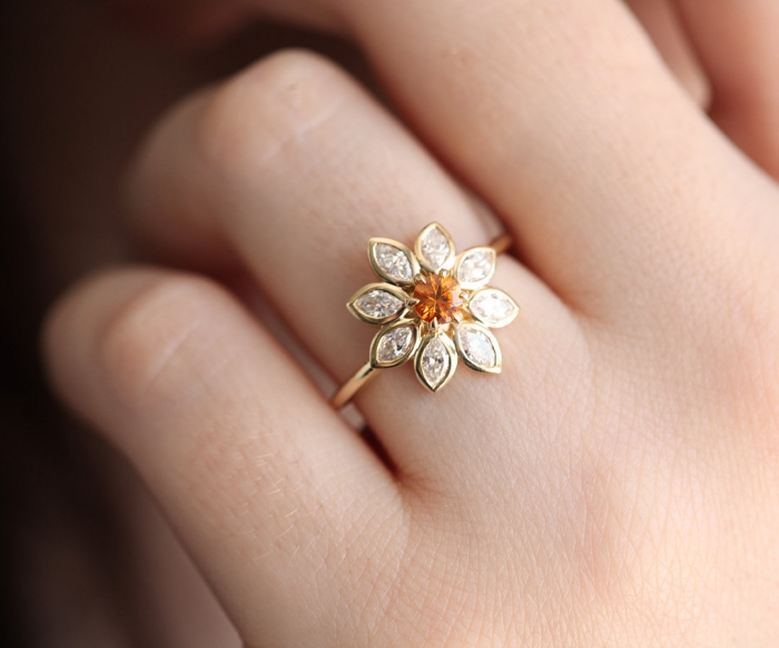 flower engagement ring etsy