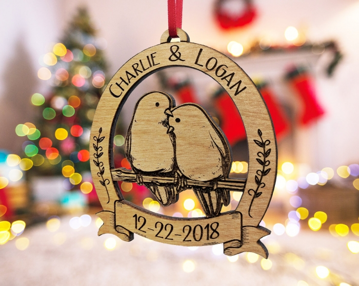 Personalized 1st Christmas Snowy Yuletide Couple Ornament Christmas Ornaments Yule Ornaments