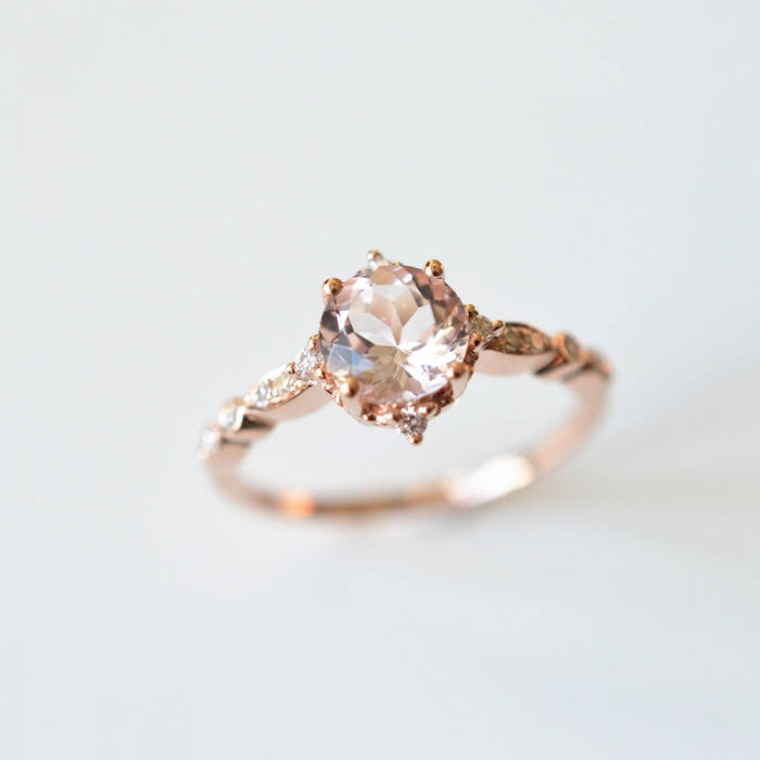 peach rose gold engagement ring