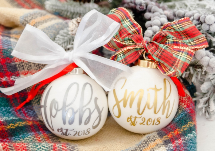 custom newlywed christmas ornament