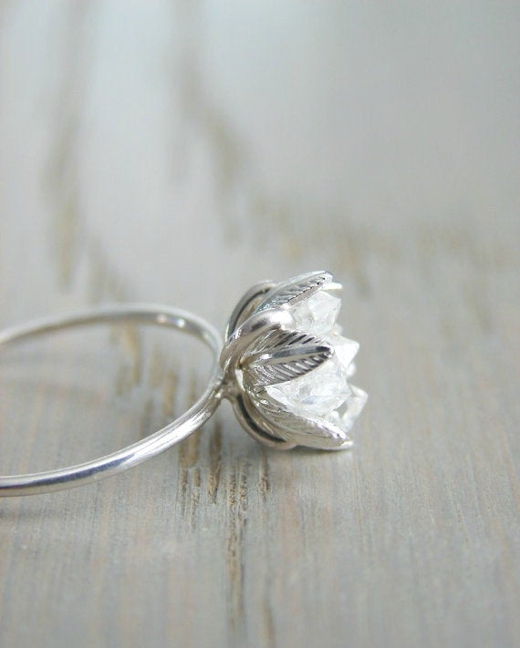 raw diamond engagement ring etsy
