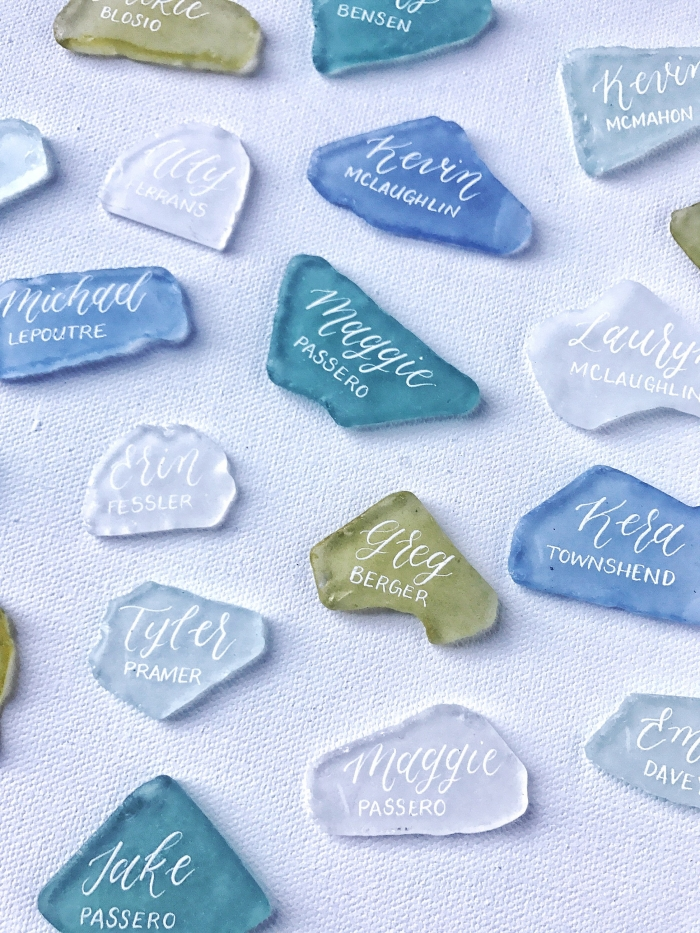 sea glass escort cards handmade etsy