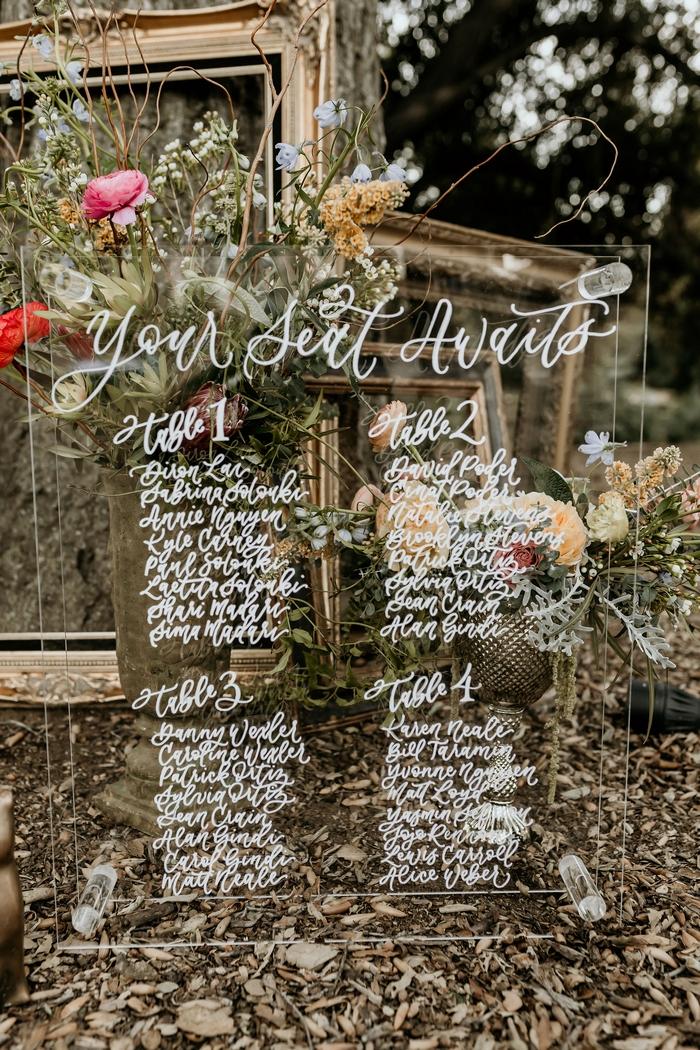 small wedding table chart