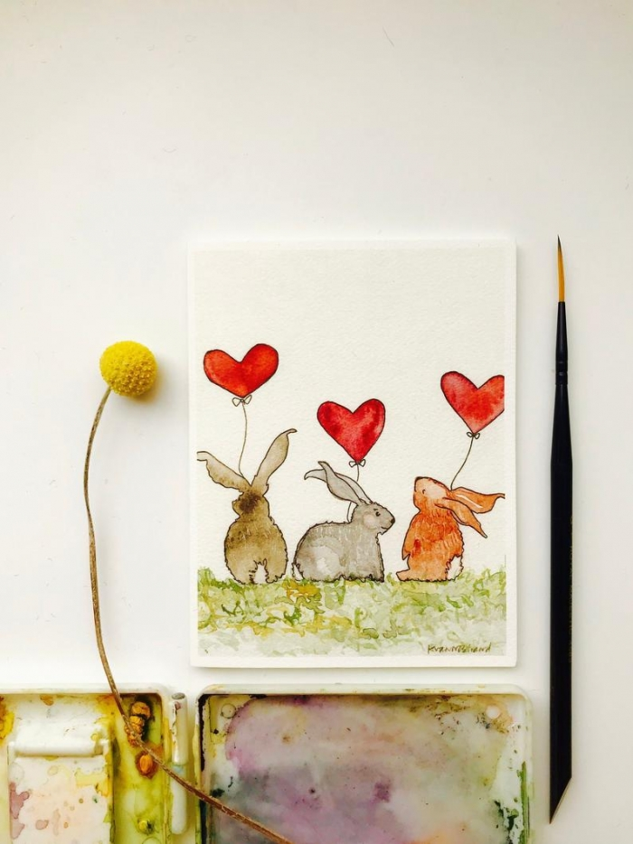 cute valentine card animals