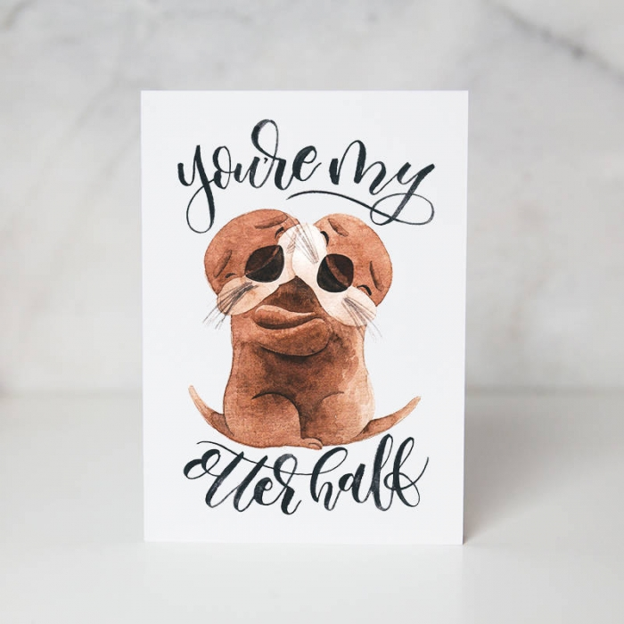 otter greeting card cute