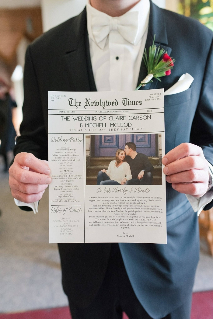 unique wedding program newspaper