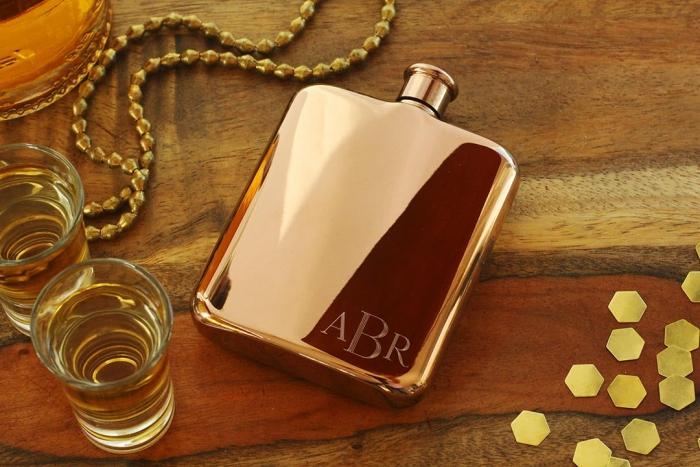 rose gold flask groomsmen gift etsy