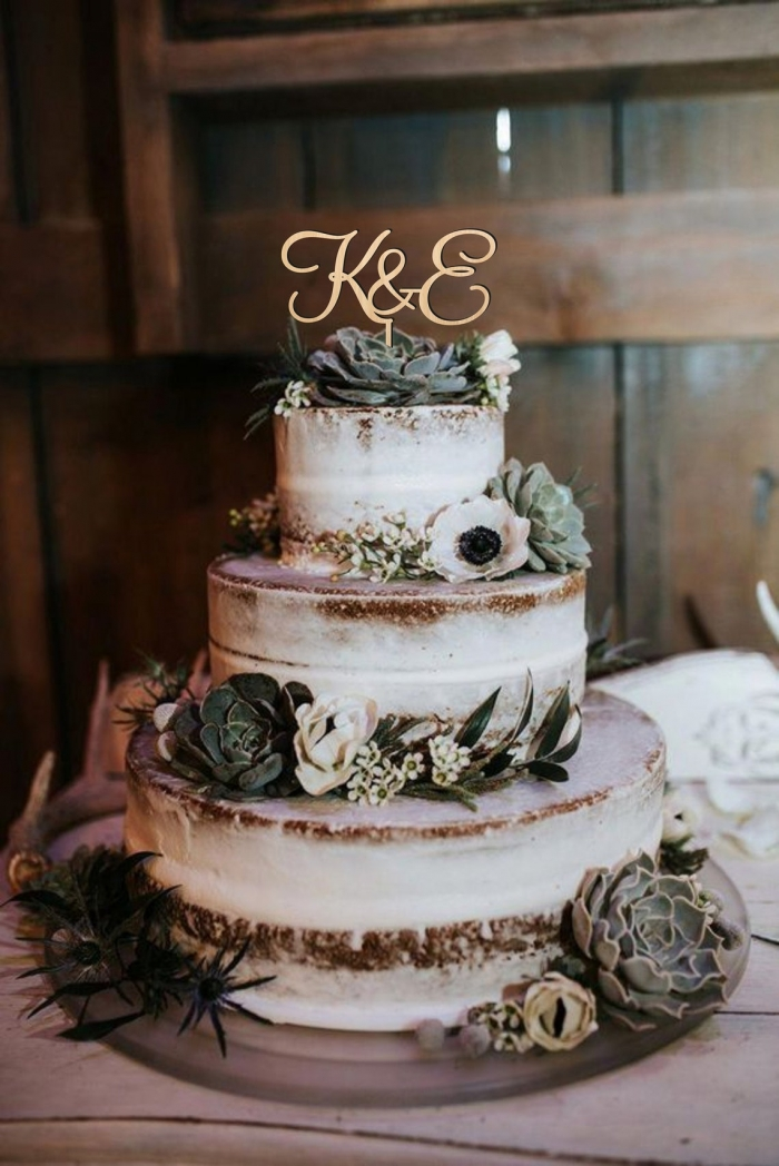 initial wedding cake topper