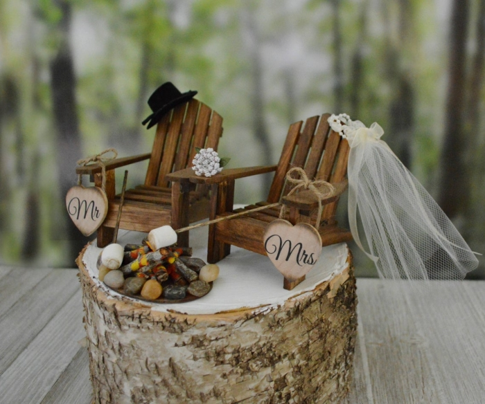summer wedding cake topper