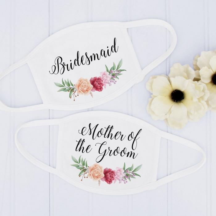 floral bridal party face masks white