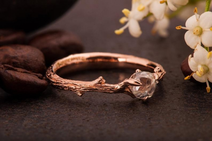 raw diamond ring rose gold