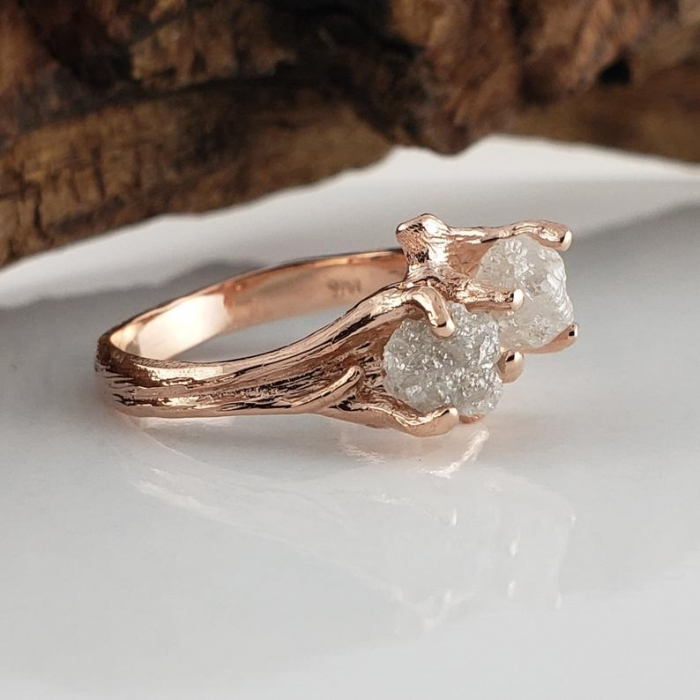 raw stone engagement ring