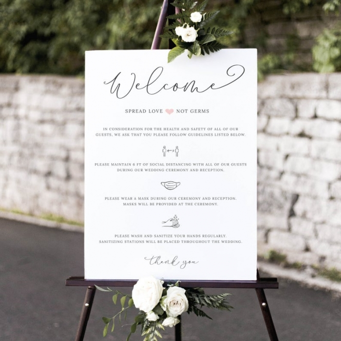 wedding safety rules sign
